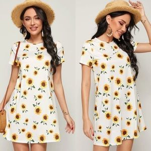 Boho sunflower print tee mini dress white spring